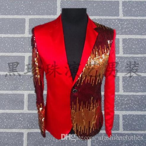2019 Wholesale Black Red Men Suits Designs Masculino Homme Terno Stage  Costumes For Singers Men Sequin Blazer Dance Clothes Jacket Style Dress  From ... dc63d21e614b