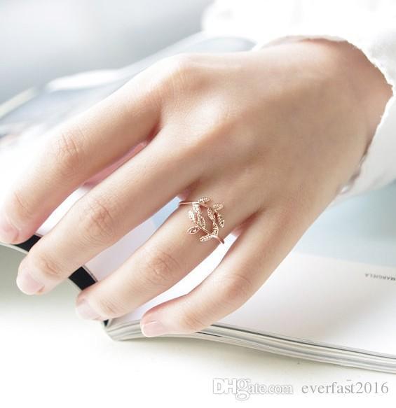 Toptan Düzensiz Yaprak Şube Gümüş Altın Gül Altın Kaplama Narin Bitki Parmak Yüzük Kadınlar Için EFR063