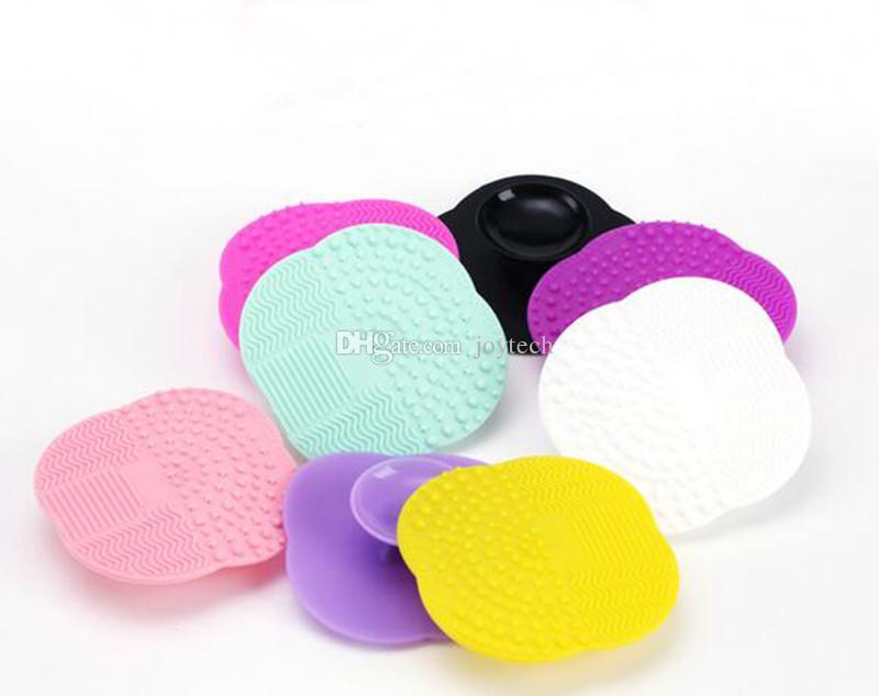 vendita all'ingrosso spazzola trucco in silicone pennello cosmetico cleaner pulizia scrubber board mat strumenti di lavaggio pad strumento mano