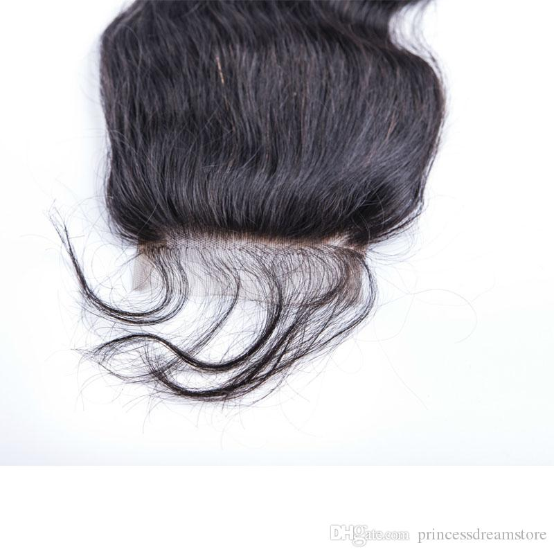 Бразильский Human Beauty Hair Body Wave Natural Black 4 * 4 Lace Top Closure Три Средний Бесплатные Части 8-20 дюймов