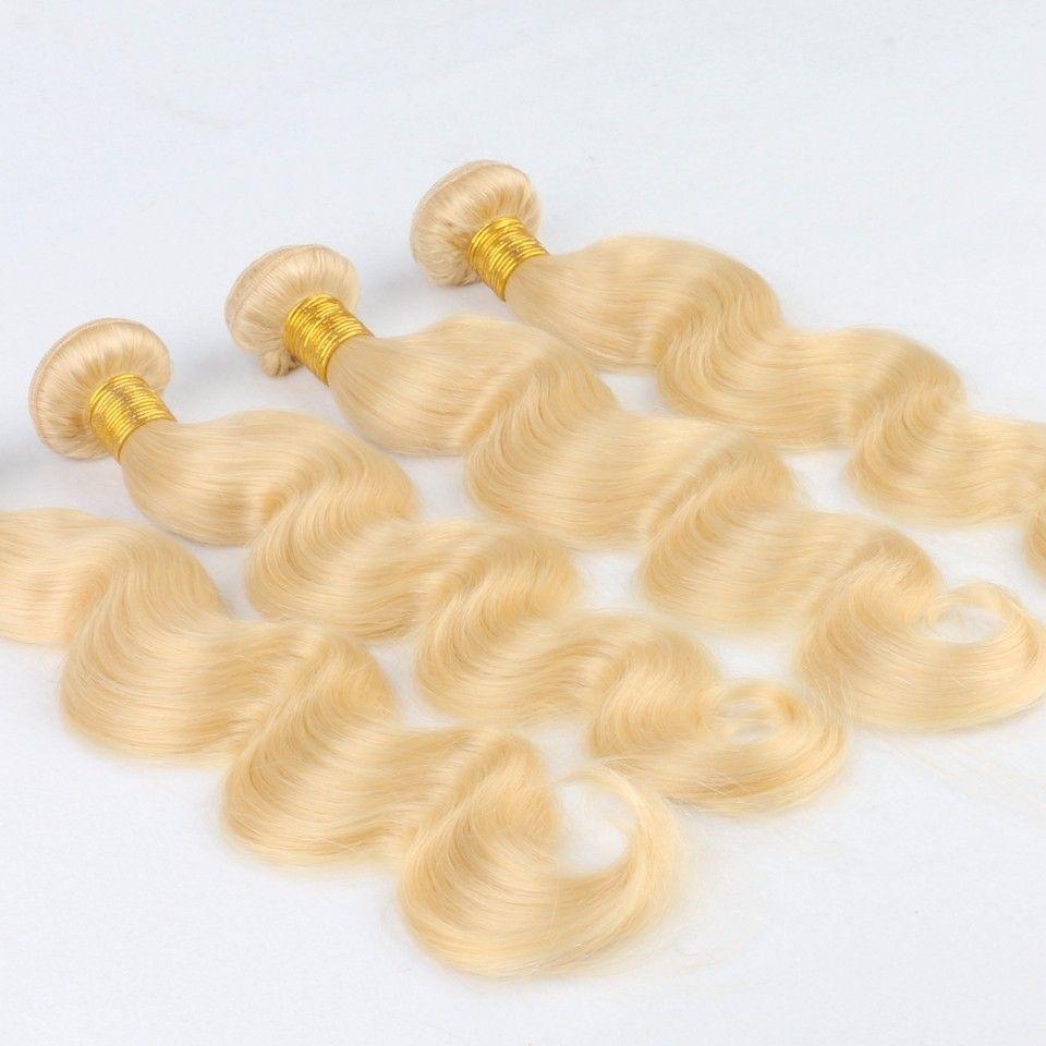 Бразильская прямые волосы переплетений, дубль утками 100г / шт 613 Русский Светлый цвет 100% человеческих волос Remy Extensions