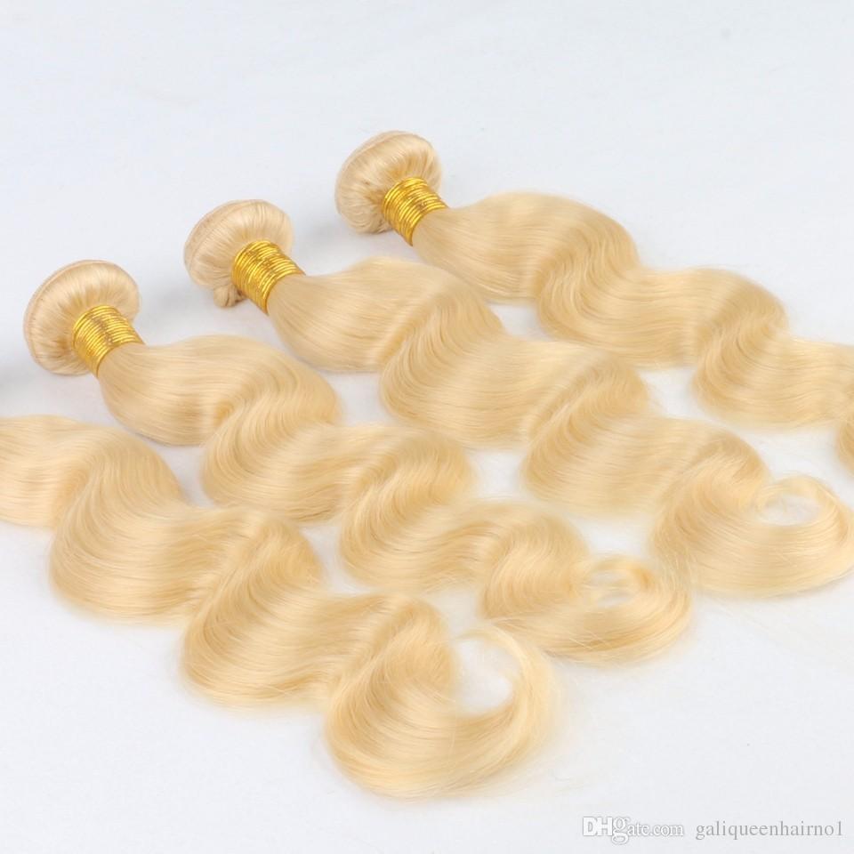 Brazilian Glattes Haar Weaves Doppel Tressen 100g / pc 613 Russian Blonde Farbe 100% Mensch Remy Haar-Verlängerungen