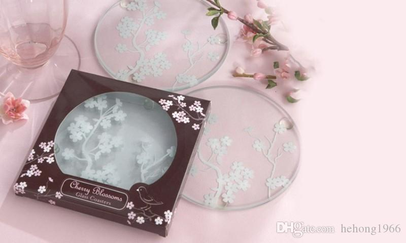 Glass Clear Pad Cherry Blossom Plum Magpie Round Cup Coaster Kitchen Bar Tableware Mat Delicate Gifts 1 2ab F R