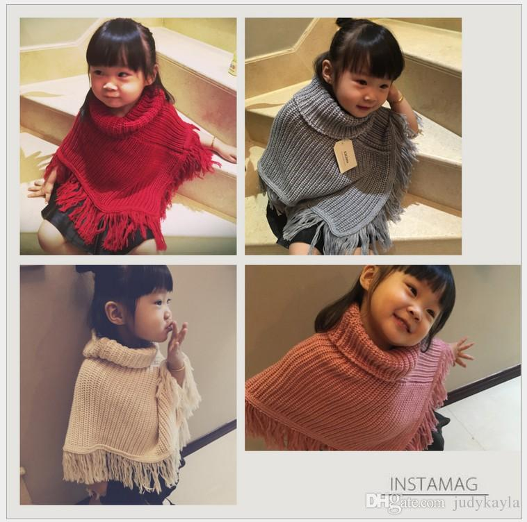 2017 New Baby Girls Tassel Poncho Cape Autumn Winter Cute Girl Solid Color Knitted Poncho Outwear Korean Style Kids Shawl 4 Colors 5pcs/lot