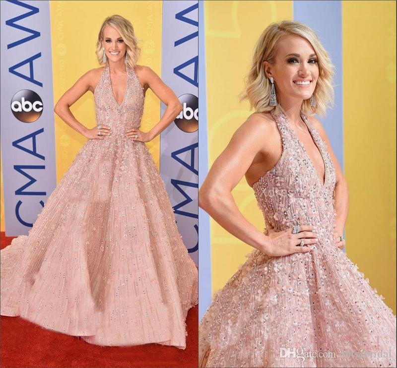 Halter Neck Prom Evening Dresses Cheap Carrie Underwood Floral ...