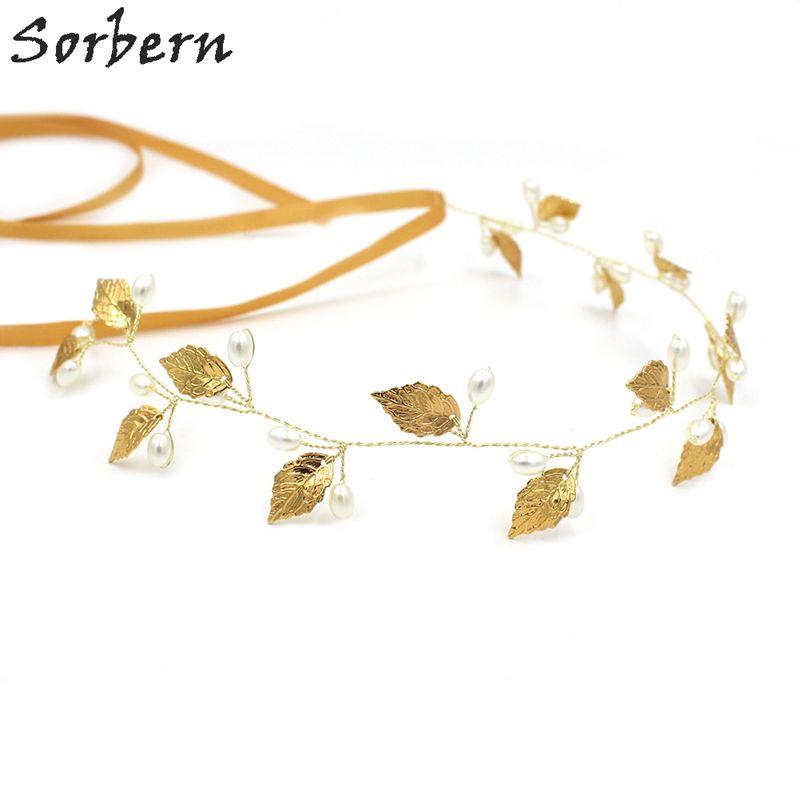 Sorbern Luksusowe złote liście Headpiece Kolczyk Grzebień Włosów Kryształ Włosów Biżuteria Festiwal Prezenty Bride Włosy Pinów Wedding Bridal Akcesoria