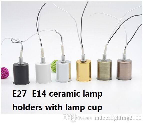 E14/E27 Ceramic Screw Lamp Socket,Base. Holders with Wire Assembly for the New Lights Lamp Chandelier Lighting Accessories Spare Parts