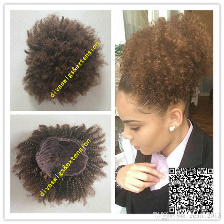 Natural Afro kinky Ponytail Afro puff kinky curly drawstring ponytail Hairpiece clip human hair extension 140g 14inch