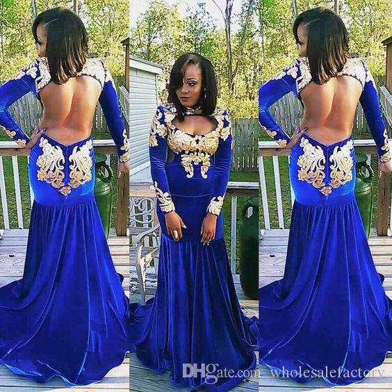 3b25a624f2e Sexy Open Back Royal Blue Mermaid Prom Dresses Black Girls 2K17 Long  Sleeves High Neck Velvet With Gold Appliques Long Evening Party Gowns Cheep  Prom ...