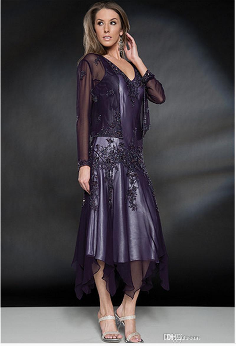 2017 Abiti da cerimonia madre della sposa con cappotto Appliques in chiffon di lunghezza del tè economici grigio viola verde plus size madre abito da sera party