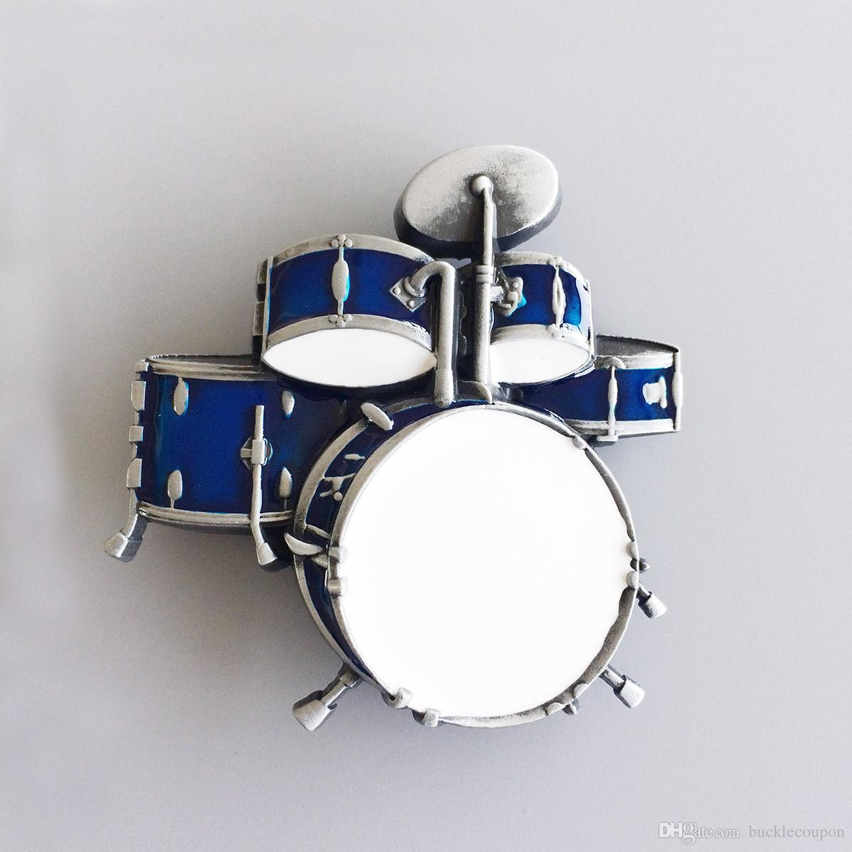 Men Belt Buckle New Vintage Drum Kit Blue Enamel Music Belt Buckle  Gurtelschnalle Boucle de ceinture BUCKLE-MU011BL Brand New