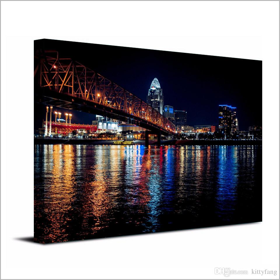 Canvas Art Poster City Night Bridge HD Canvas Painting Wall Art Canvas Prints Home Decor Pictures for Living Room XA1450C