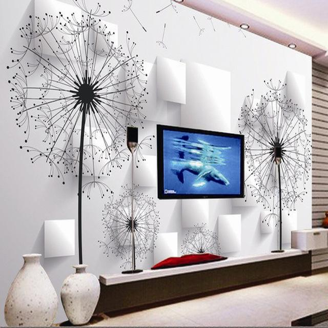 Living Room Background Animated: Wholesale Dandelion 3d Wallpaper TV Background Wallpaper