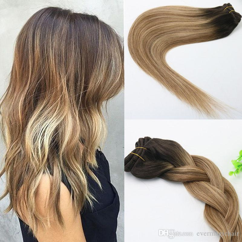 8a 120gram Clip In Human Hair Extensions Ombre Brown Human Hair With