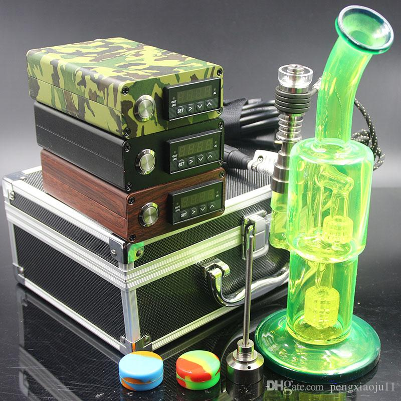 ArmyGreen Wood color black color electric nail Kit heat Coil Glass Bong Hybird Titanium nail Oil Rigs Glass Bongs Water Pipes
