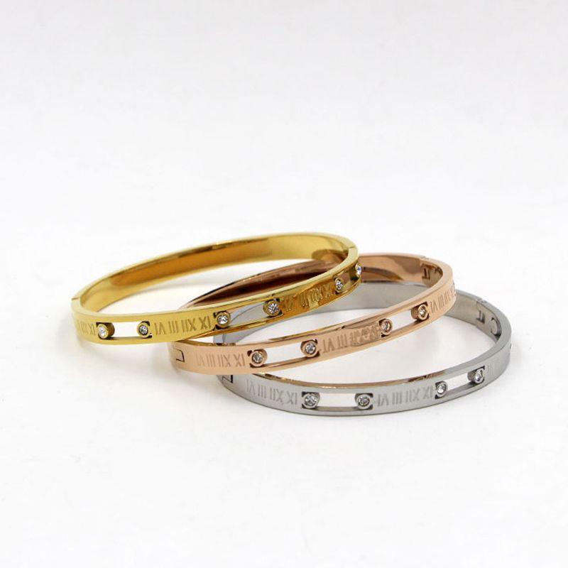 High Quality bangles For women Zirconia Roman Numeral bangle womens Wedding Noble elegant style Bride jewelry