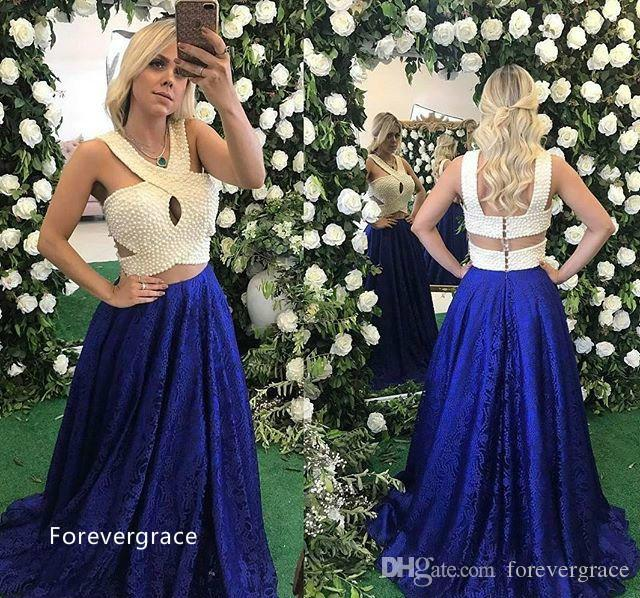 Two Pieces Lace Evening Dress Modest Luxury Pearls Top Royal Blue A Line Sleeveless Long Formal Party Gown Custom Made Plus Size