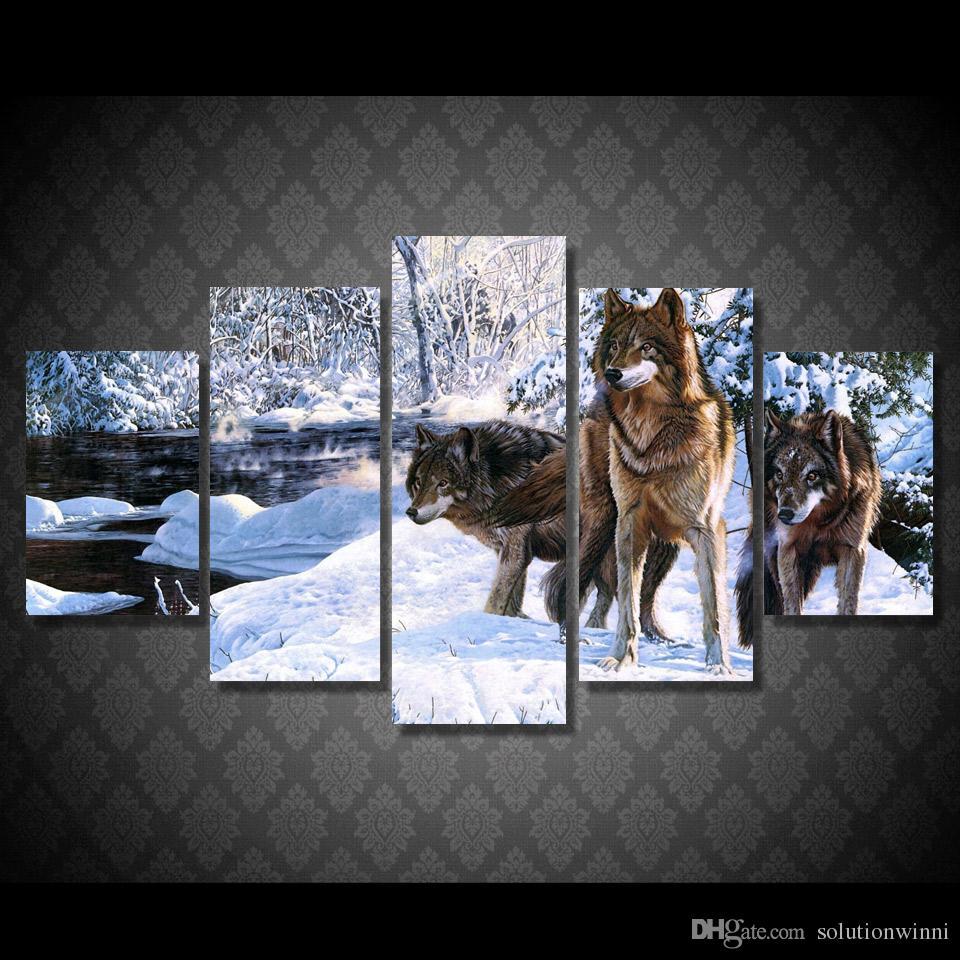 Großhandel 5 Teile / Satz Gerahmte Hd Gedruckt Schnee Wolf Eis See ...