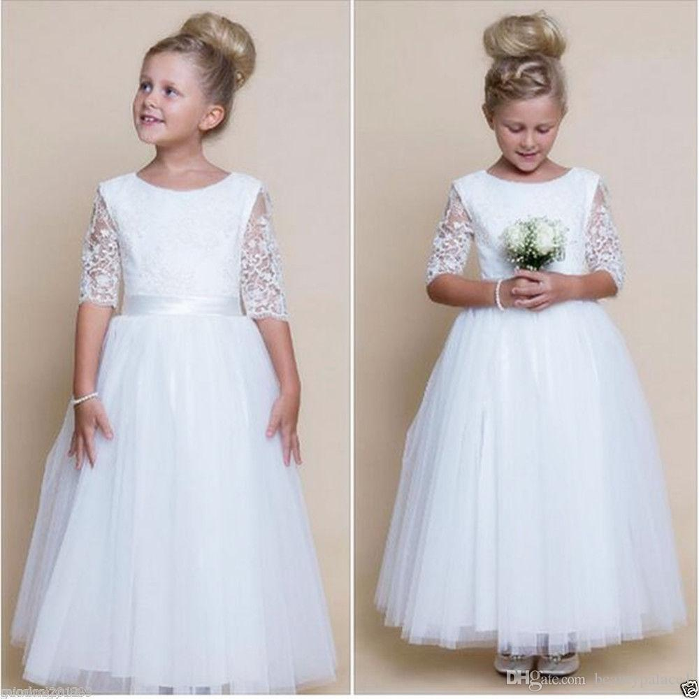2017 Vintage Flower Girl Dresses For Weddings Jewel White Tulle Custom Made Princess Tutu Lace Kids First Communion Gowns Half Sleeve