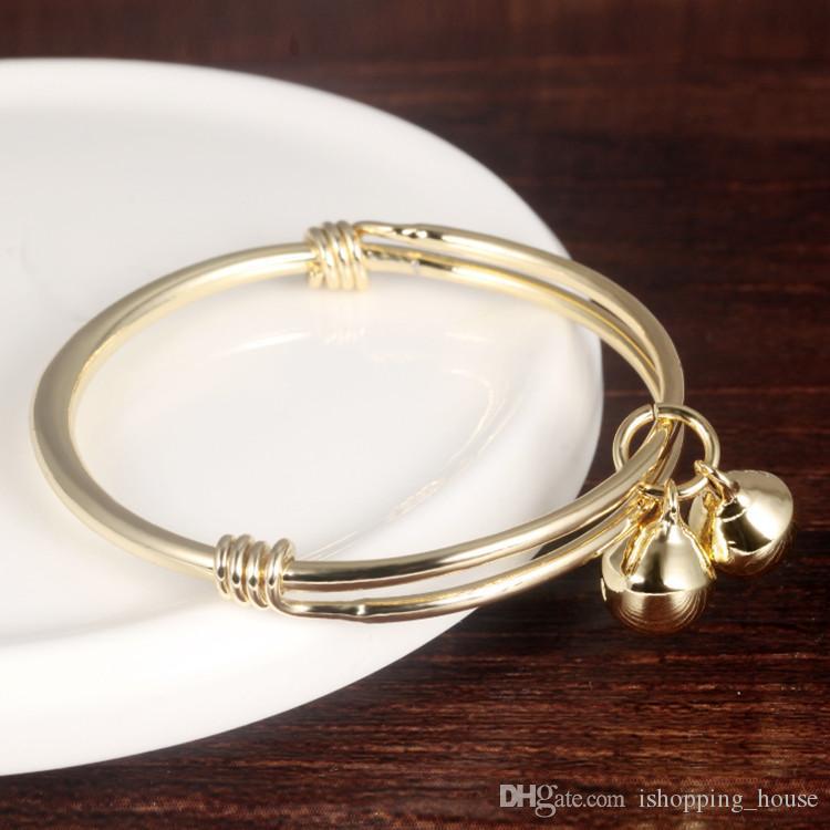 Hotsale Регулируемого младенца Дети Bangles Аллергического Free 18K желтого золото покрыл браслет для детей Детей с бубенцами BR-093