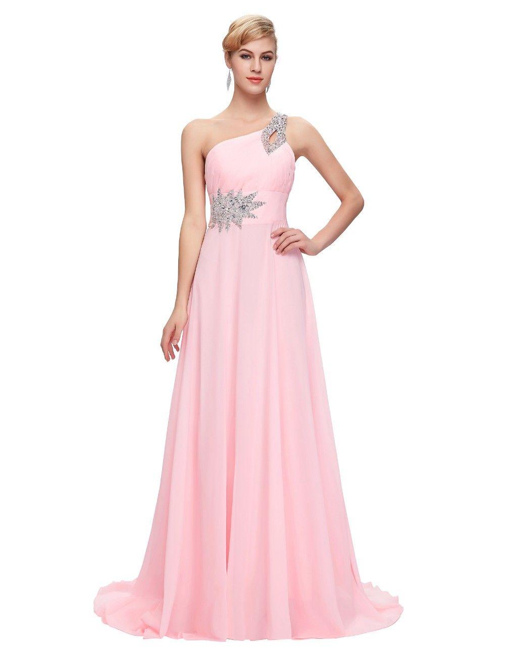 Compre Vestidos De Dama De Honor Largos De Gasa Un Hombro Rebordear Azul Royal Púrpura Rojo Rosa Vestido De Dama De Honor Vestido Barato A $45.23 Del ...