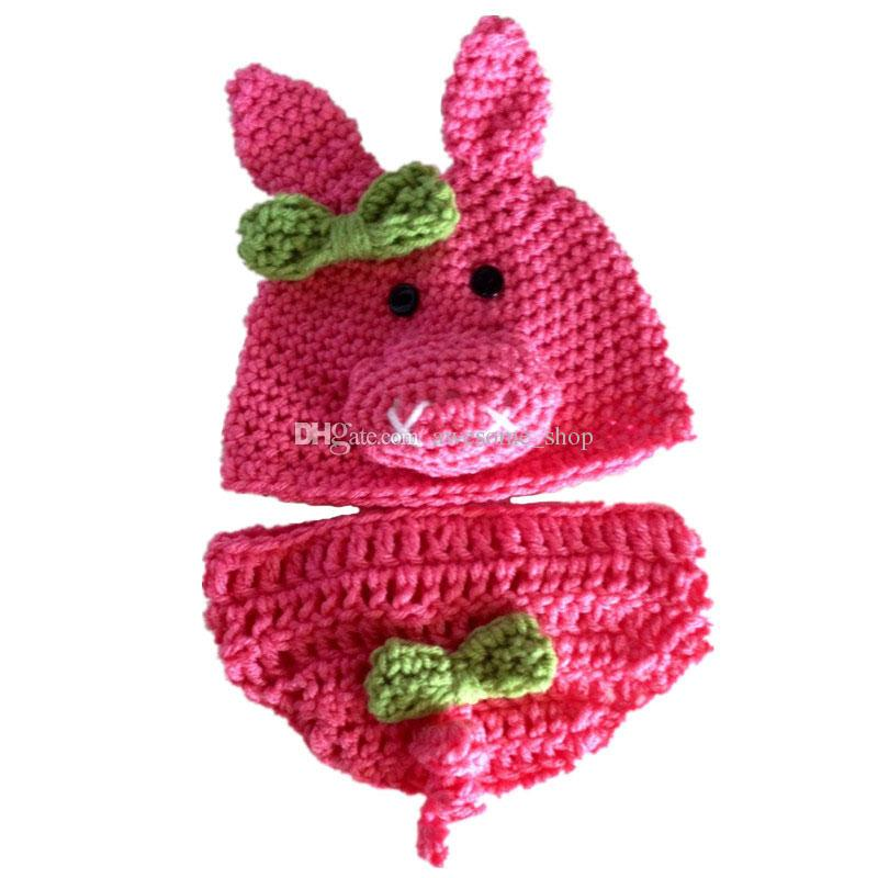 Newborn Pig Costume,Handmade Knit Crochet Baby Girl Pink Pig Hat and Diaper Cover Set,Infant Halloween Costume Photo Prop,Animal Costume