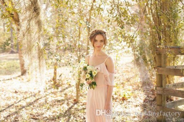 Robes de demoiselle d'honneur de style champêtre rougir rose mousseline de mousseline longue Bohemian fête de mariée femme de mariée d'honneur robe spaghetti sangles de la plage d'épaule