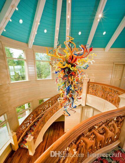Lampen Modern Multicolor Große Größe Hotel Light Anhänger Stil Hand Geblasenes Glas Kunst LED Kronleuchter Beleuchtung