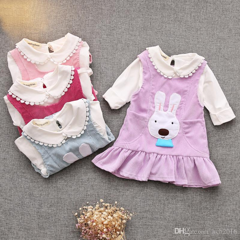 Baby Kids Clothing Girls' Dresses Spring Autumn childrens toddler princes Cotton Ball Gown BLOUSE + Dress shirts two Piece suits #TB1001