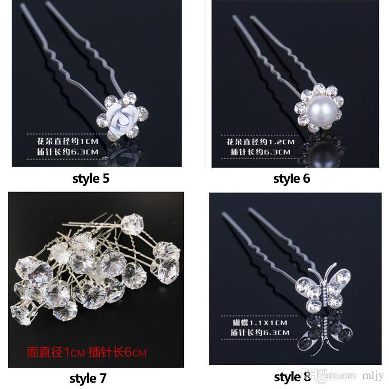 Forcella di cristallo nuziale imitazione perla intarsio bastoncini capelli moda tornante le donne di tipo u forcine capelli da sposa gioielli 80 pz / lotto