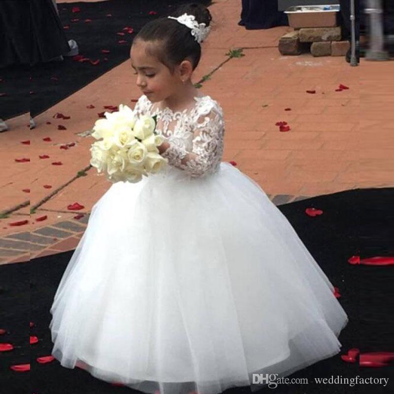 9674b8cea38 Lovely Long Sleeves Flower Girl Dresses Sheer Neck Lace Appliques Top Tulle  Skirt Flowergirl Dress Kids Formal Gowns For Weddings Flower Girl Dresses  ...
