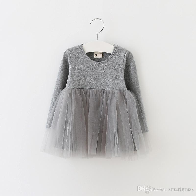 Girls Long Sleeve Dress Online Shopping Autumn 2020 Baby Girl Clothes Solid Color Baby Tutu Dress 17080801