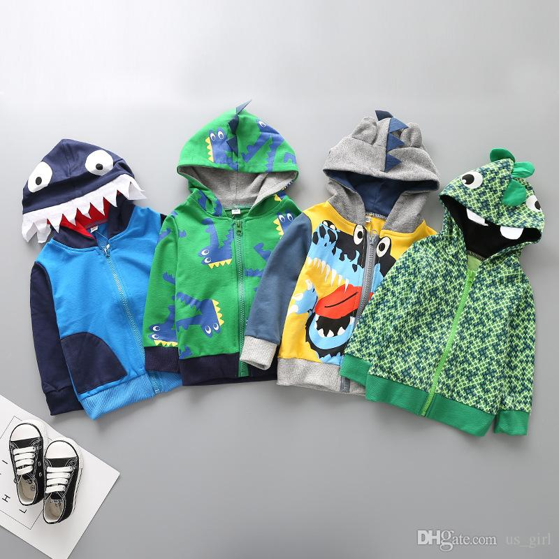 Baby Boys Girls Clothes Good dinosaur Korean Terry Zipper Coat Fashion Crocodile Modelling Clothing Hot Autumn Winter Kids Sweatshirts Hoody