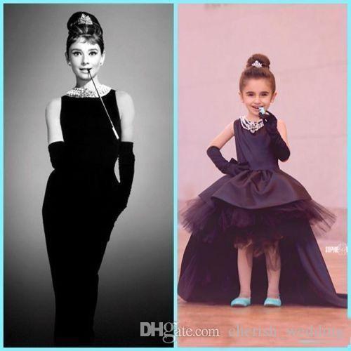 Lovely Little Black Baby Flower Girl Dresses Audrey Hepburn Style