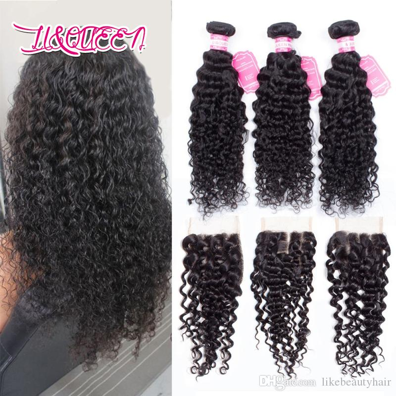 Human hair Deep wave 4x4 lace closure with 3 bundles Mongolian Natural color Bundles with closure Deep wave Full density