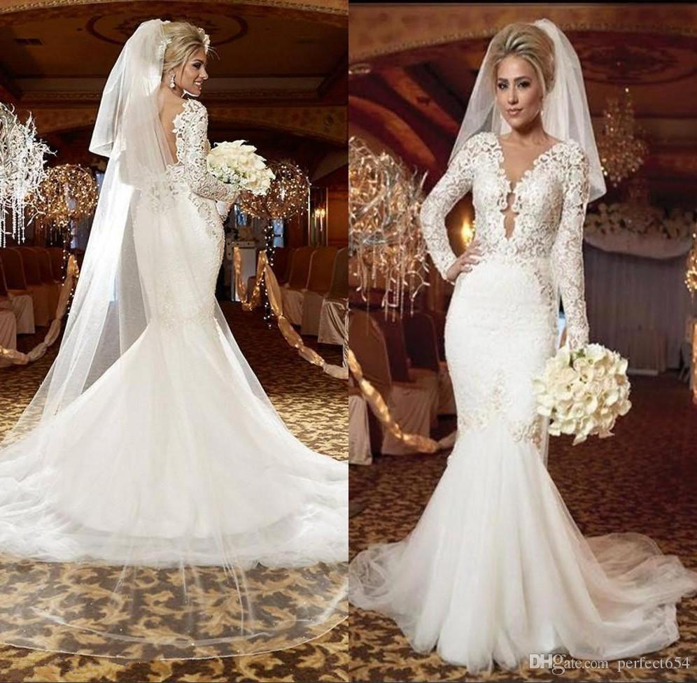 Stunning white plus size wedding dresses 2017 long sleeve v neck stunning white plus size wedding dresses 2017 long sleeve v neck ruffles mermaid trumpet backless tulle bridal gowns sexiest mermaid wedding dresses silk ombrellifo Image collections