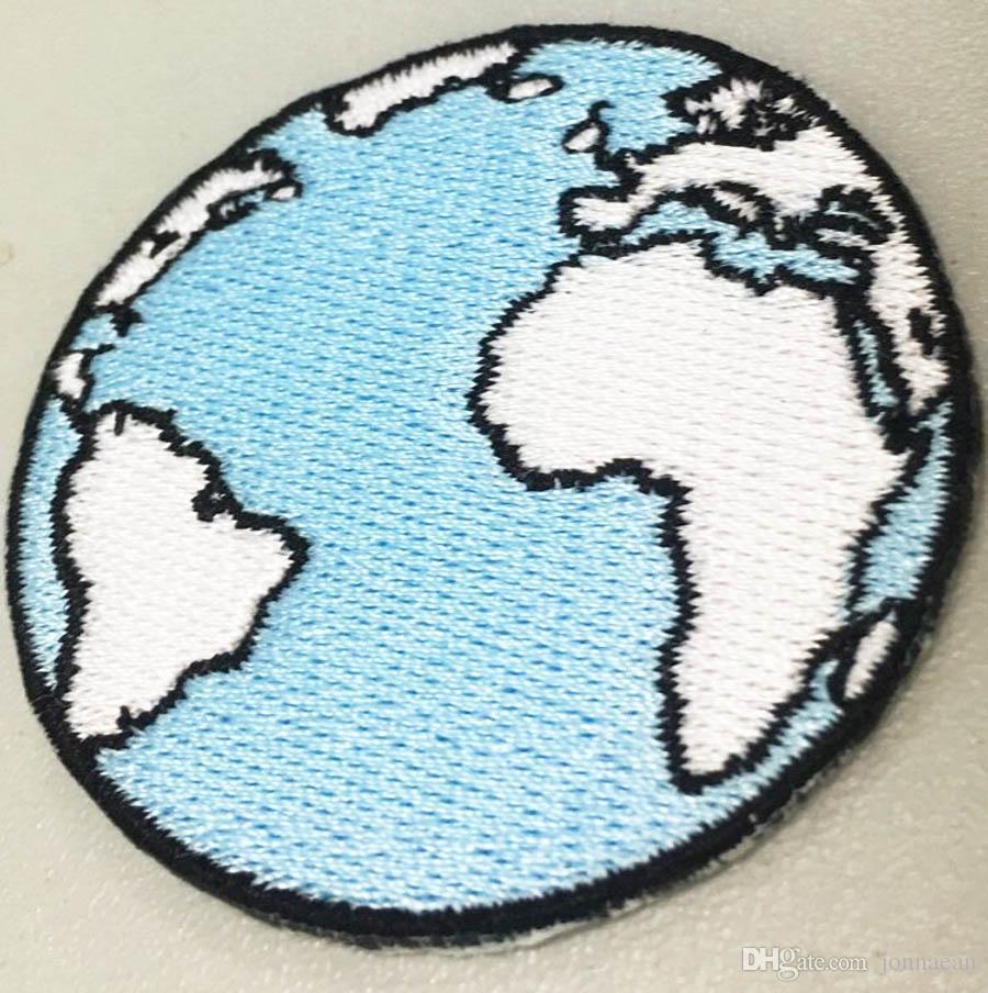 5cm de large avec des correctifs de broderie de mode Design personnalisé Blue Earth 100% emb Beaucoup Livraison gratuite