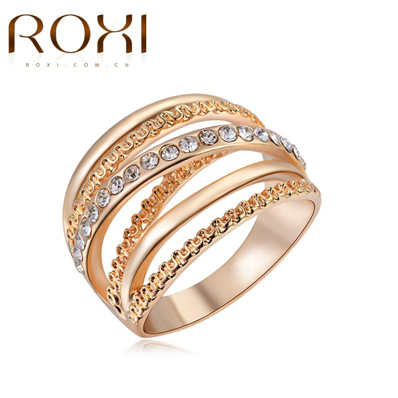 2018 Roxi Jewelry Brand Women Ring Rose Gold Color Finger Engagement
