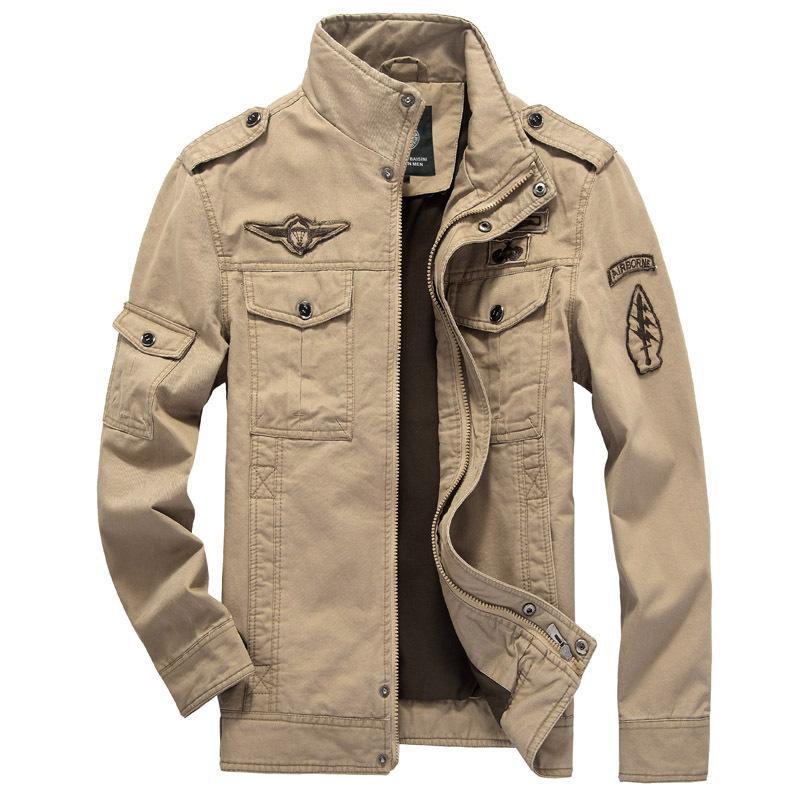 Cotton Bomber Jackets Men 2017 Military Beige Jacket Men Spring ...