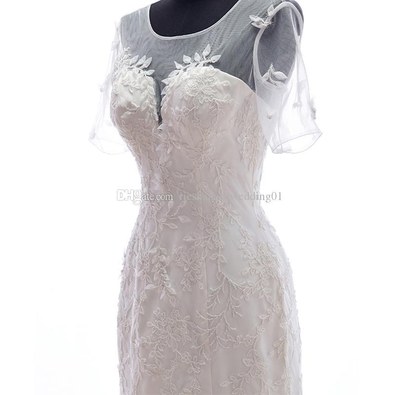 Real Photo Sheer Neck Fit Flare Vestidos de novia de sirena con cordones Poet Applique tren de tren rebordear por encargo New Vintage Tulle vestidos de novia