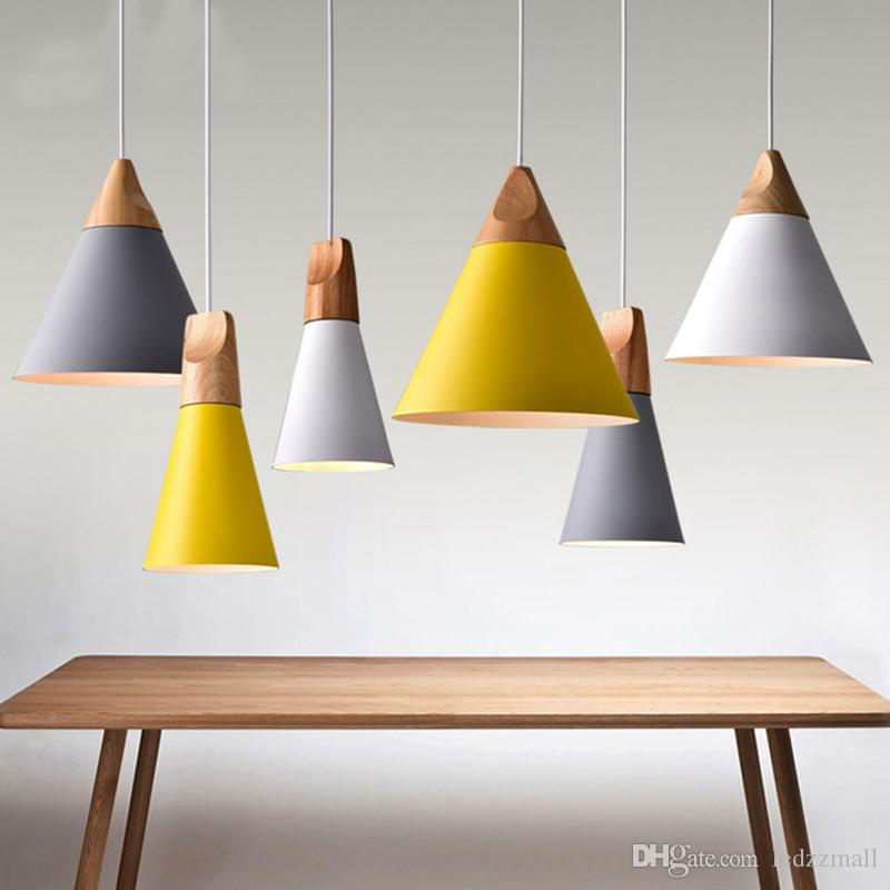 Modern Wood Pendant Lights Lamparas Colorful Aluminum Lamp Shade Luminaire Dining Room For Home Lighting Ceiling