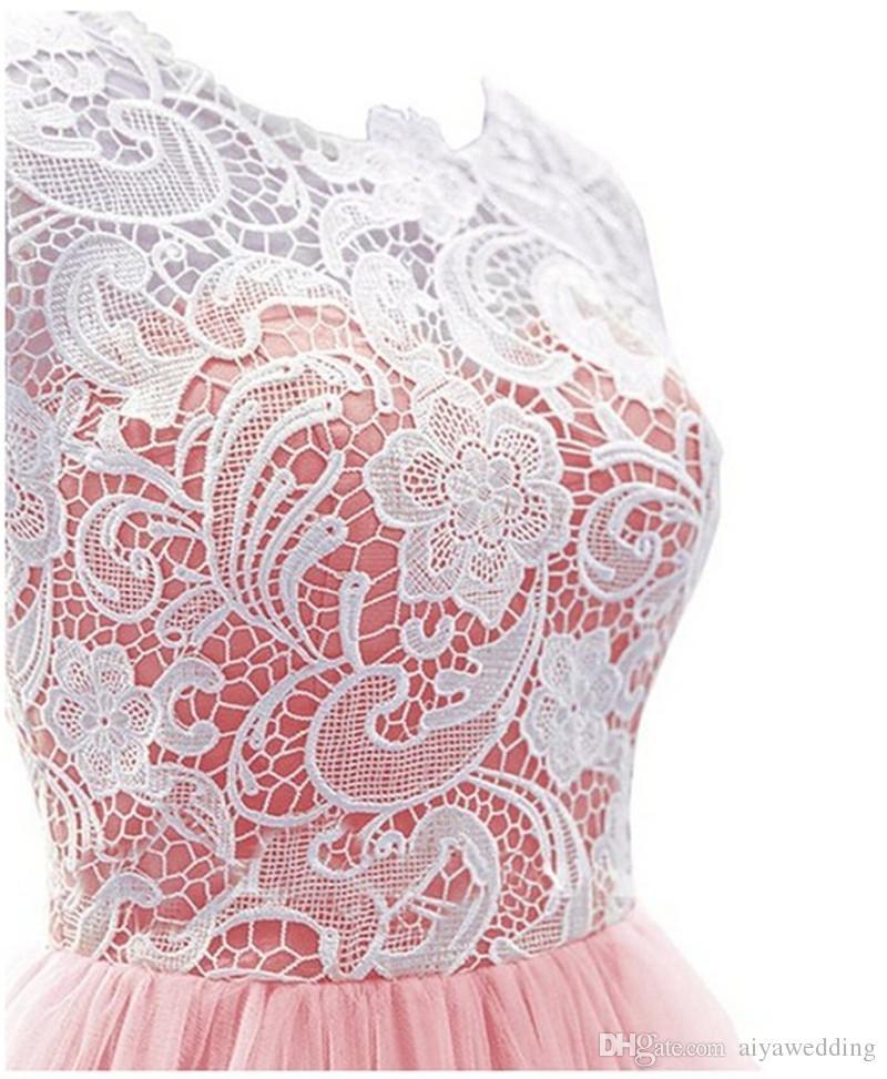 Ücretsiz Nakliye Kapalı Düğme Ucuz Yeni Varış Fantezi Dantel Vestido De Festa Tül Abiye Scoop Gelinlik Modelleri Vestido Longo
