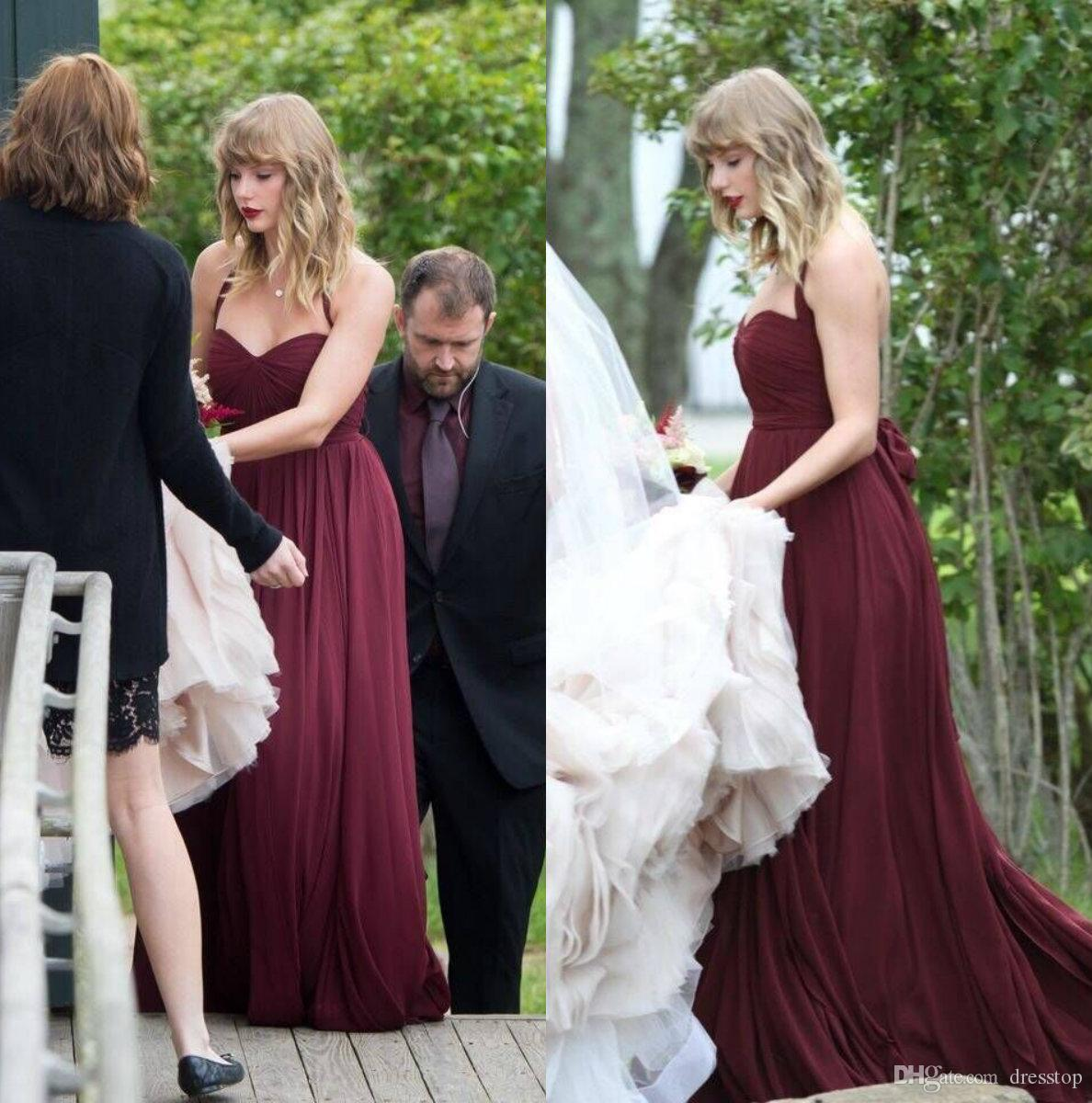 Taylor Swift Plum Bridesmaid Dresses Under 50 Halter Backless