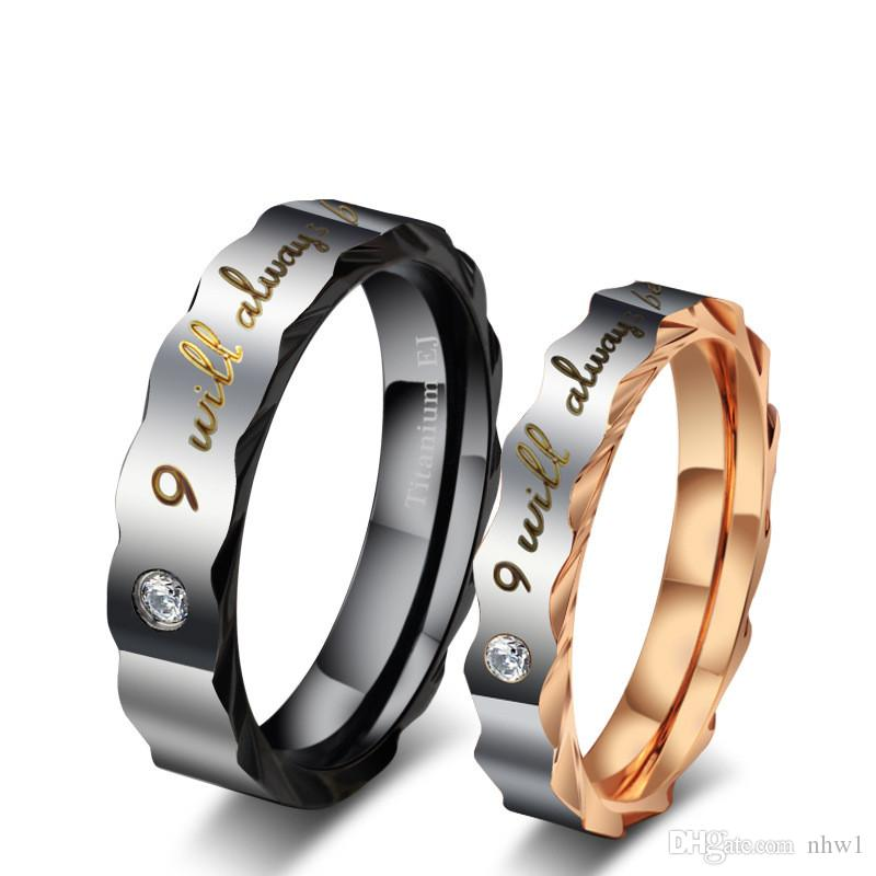 High Quality Couple Rings For Women MenTitanium Wedding Rings With Rhinestone Stainless Steel Ring Jewelry Engagement Wedding Gift