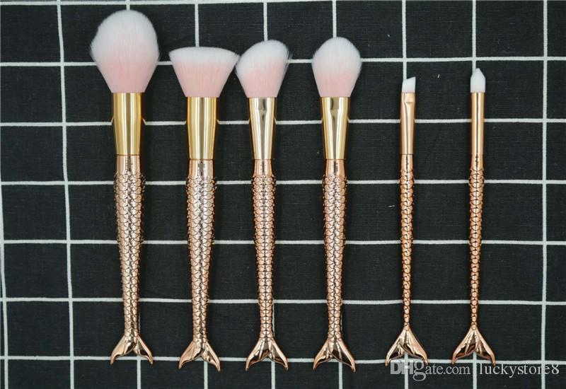 Meerjungfrau-Make-upbürste 3D bunte bilden Werkzeuge Tech-professionelle Schönheitskosmetik-Meerjungfrau-Endstück-Make-upbürsten-Satz DHL-FREIES VERSCHIFFEN