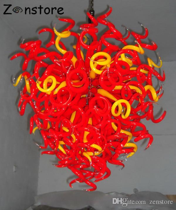 Рука высокого качества выдувного стекла люстры боросиликатного стекла красный цвет LED источник света Люстра светильник