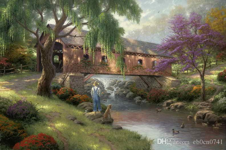 The Old Fishin Hole Thomas Kinkade Pinturas al óleo Art Wall HD Impresión en la lona Regalo de la decoración Sin marco