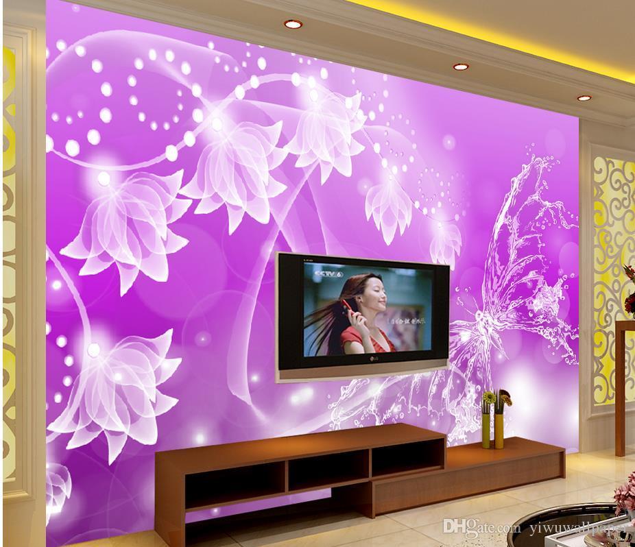 Hohe Qualität fertigen Größe moderne purpurrote Traum-transparente Blumen-Schmetterlings-schöne Hintergrund-Wand besonders an