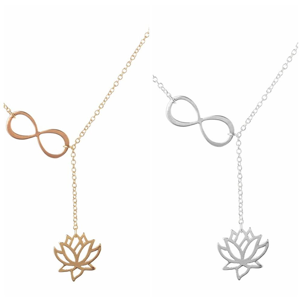 Fashion Buddhist Antique Silver Lucky Plant Lotus Flower Pendant Adjustable Cross Lariat Necklace for Women Unique Lotus Jewelry jl-011