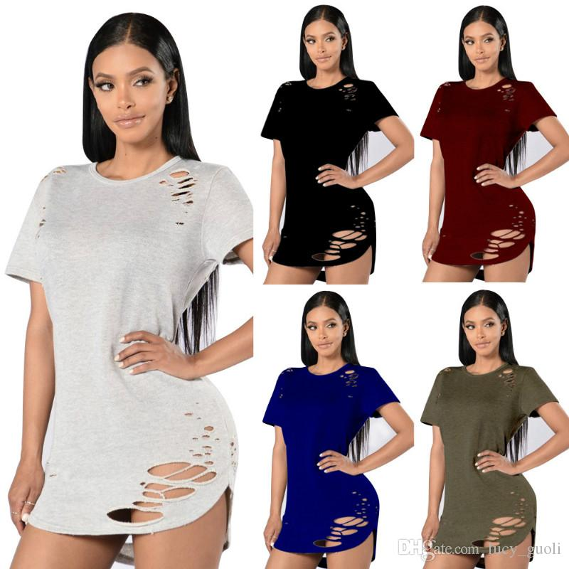 Populair Women Sexy Hole T Shirt 2017 Summer Style Long Tops & Tees For &ZD11